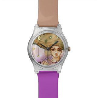 Retrato y mujer abstractos del bonito relojes de mano
