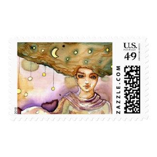 Retrato y mujer abstractos del bonito timbres postales
