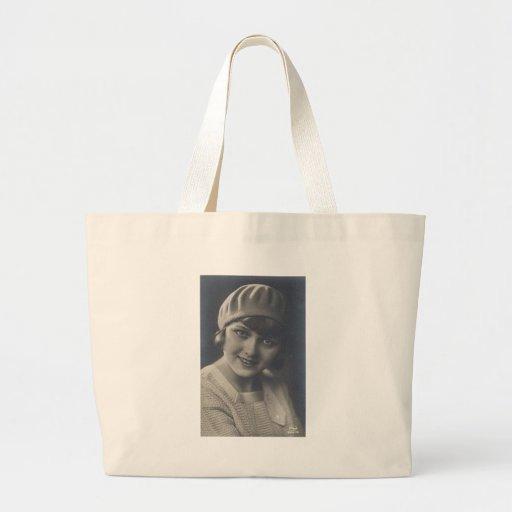 Retratos antiguos de las mujeres de la aleta del v bolsa tela grande
