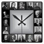 Retratos blancos y negros de los compositores famo relojes de pared