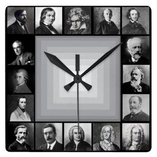 Retratos blancos y negros de los compositores reloj cuadrado