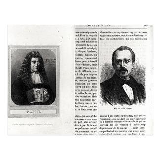 Retratos de Denis Papin y de Etienne Lenoir Tarjetas Postales