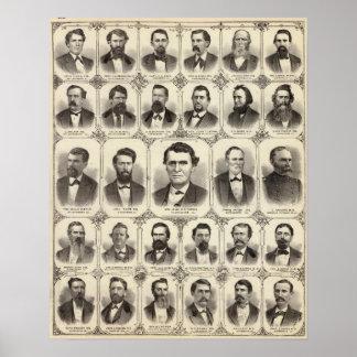 Retratos de Juan C Pasillo y profesor JW Bradshaw Póster