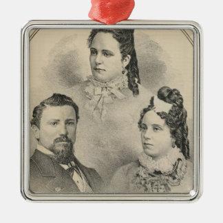 Retratos de la familia de Curtiss y de Todd Adorno Navideño Cuadrado De Metal