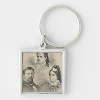 Retratos de la familia de Curtiss y de Todd Llavero Cuadrado Plateado