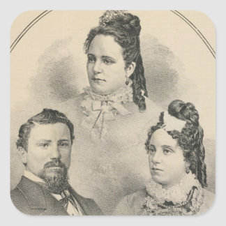 Retratos de la familia de Curtiss y de Todd Pegatina Cuadrada
