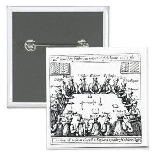 Retratos de las jesuitas y de los sacerdotes pin cuadrado