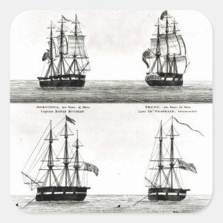 Retratos de los buques en la expedición polar calcomanías cuadradass