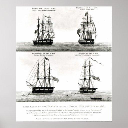Retratos de los buques en la expedición polar póster