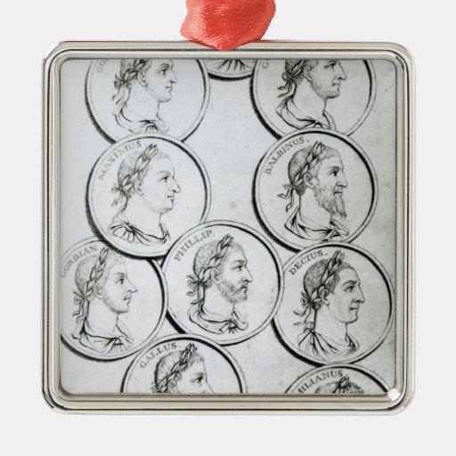 Retratos de los emperadores romanos adorno navideño cuadrado de metal