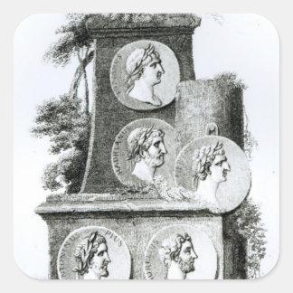 Retratos de los emperadores romanos de pegatina cuadrada