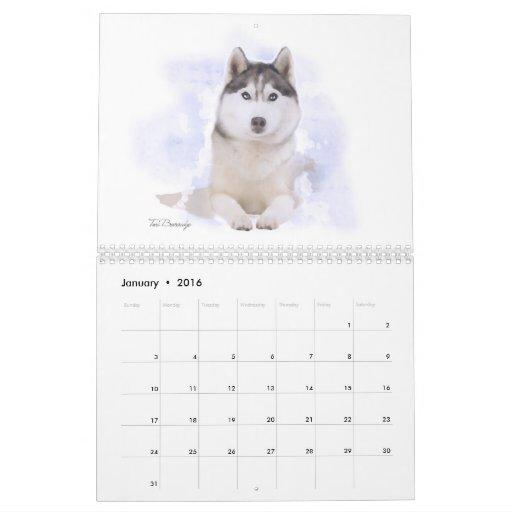 Retratos del calendario del perro de la familia