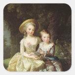 Retratos del niño de Marie-Teresa-Charlotte Pegatina Cuadrada