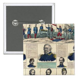 Retratos militares pin cuadrada 5 cm