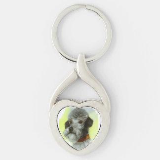 RETRATOS MINIATURA Airedale Terrier del PERRO del Llavero Plateado En Forma De Corazón