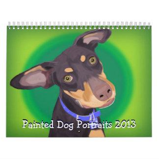 Retratos pintados del perro 2013, colorido y vibra calendario