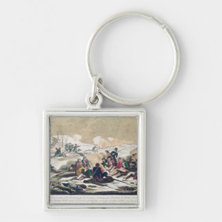 Retreat from Moscow, engraved by J. Hassell Silver-Colored Square Keychain
