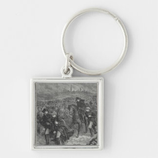 Retreat from Moscow Silver-Colored Square Keychain