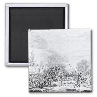Retreat from the Battle of Worcester 2 Inch Square Magnet