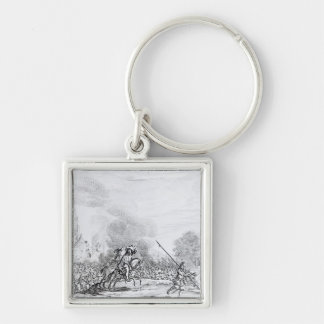 Retreat from the Battle of Worcester Silver-Colored Square Keychain