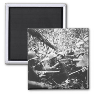 Retreating at first into the jungle_War Image 2 Inch Square Magnet