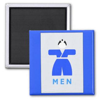 Retrete de los hombres, muestra japonesa imán cuadrado