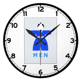 Retrete de los hombres, muestra japonesa reloj redondo grande