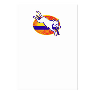 Retriever Dog Training Jumping Hurdle Retro Large Business Cards (Pack Of 100)
