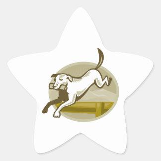 Retriever Dog Training Jumping Hurdle Retro Star Stickers