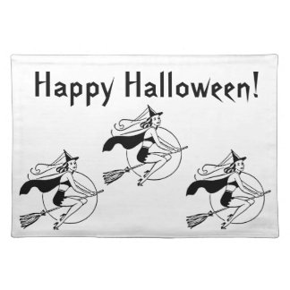 Retro1950's drawing of a witch on her broom. cloth place mat