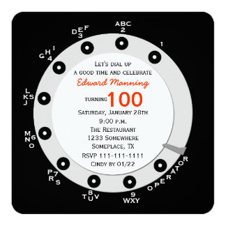 Retro 100th Birthday Party Invitation Rotary Dial