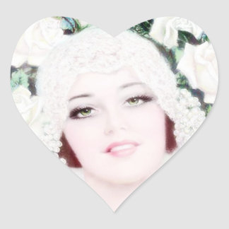 Retro 1920s Bride Heart Sticker