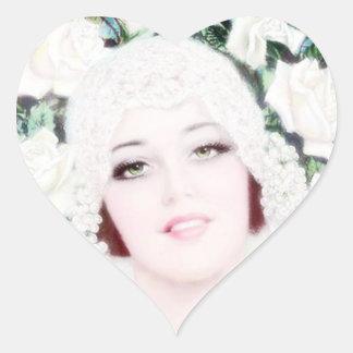 Retro 1920s Bride Heart Sticker