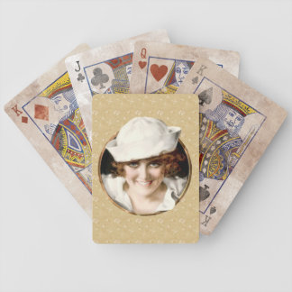 Retro 1920s Sailor Girl Bicycle Playing Cards