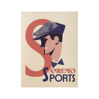 Retro 1920s style Italian men's sports fashion adv Wood Poster