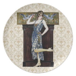 Retro 1920s Woman Melamine Plate