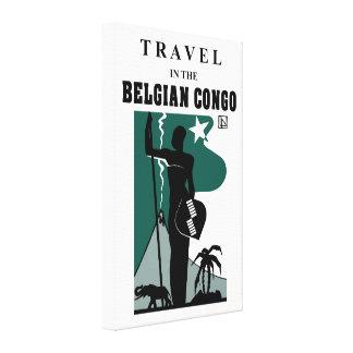 Retro 1930s African style Belgian Congo travel Canvas Print