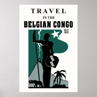 Retro 1930s African style Belgian Congo travel Poster
