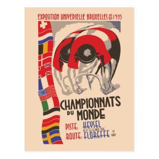 Retro 1930s art deco design cycling postcard