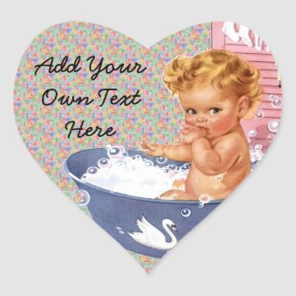 Retro 1940s Baby Heart Sticker