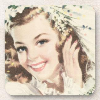 Retro 1940s Bride Beverage Coaster