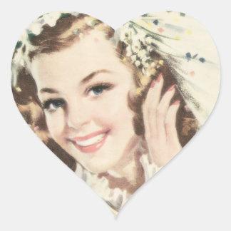 Retro 1940s Bride Heart Sticker
