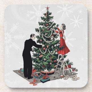 Retro 1940s Christmas Tree Beverage Coasters