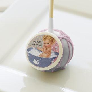 Retro 1940s Girl Baby Shower Cake Pops