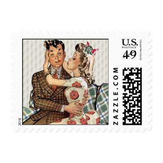 Retro 1940s Kissing Couple Stamp