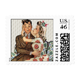 Retro 1940s Kissing Couple Stamps