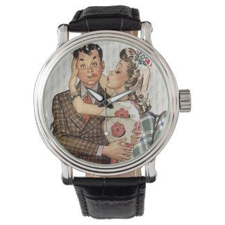 Retro 1940s Kissing Couple Wrist Watch