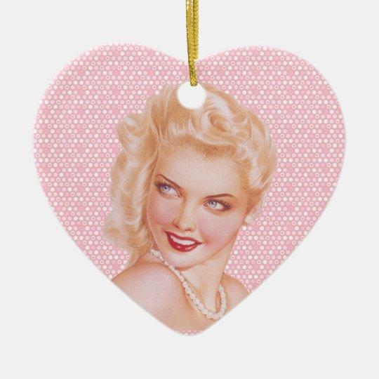 Retro 1940s Love Ceramic Ornament