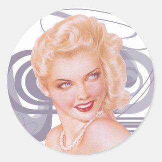 Retro 1940s Pinup Classic Round Sticker
