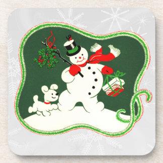 Retro 1940s Snowman Beverage Coaster